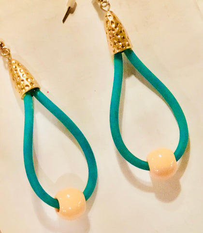 Green and Gold Rubber Teardrop Earrings with Corral Bead