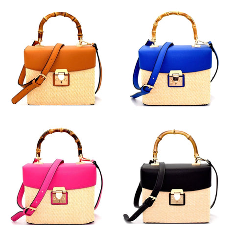 Woven Straw Handbag with Bamboo Handle & Vegan Leather with Gold Clasp Closure (4 Colors)