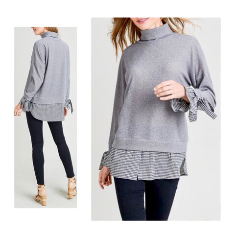 Grey Knit Turtleneck with Gingham Tie Sleeve & Shirttail Hem Contrast