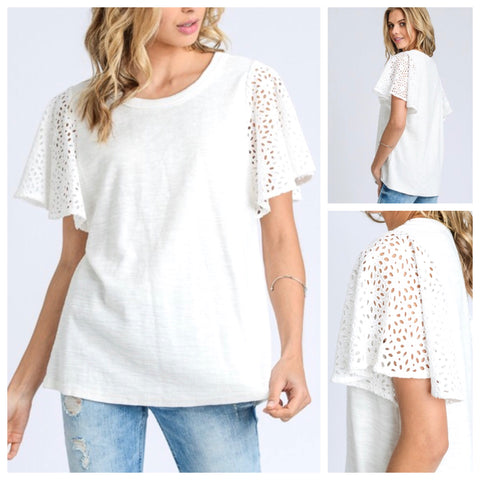 Ivory Short Sleeve Terry Tee with Eyelet Sleeves