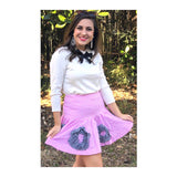 Pink Gingham Ruffle Hem Skirt with Black Contrast Gingham Appliqués