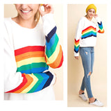 Off White Rainbow Stripe Shimmering Knit Sweater