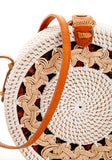 Balinese Ivory & Cognac Purse with Woven Design & Top Closure
