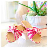 Pink & Natural Canvas Bow Slide Sandals