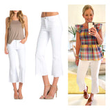 White Cropped Flare Raw Hem Midrise Jeans