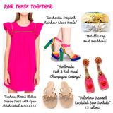 Fuchsia Shirred Flutter Sleeve Dress with Open Stitch Detail & POCKETS