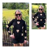 Black & Taupe Heart Knit Sweater