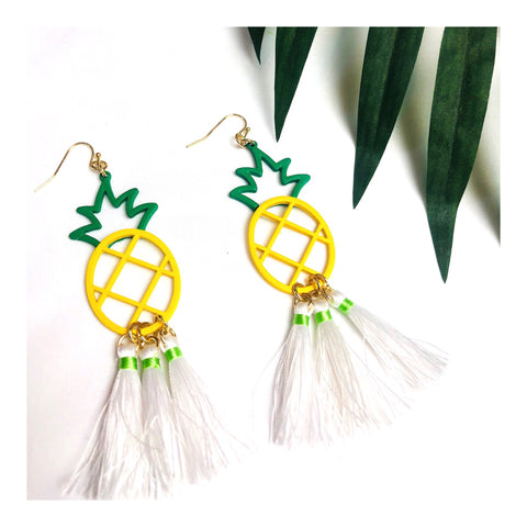 Yellow Green Pineapple Tassel Earrings