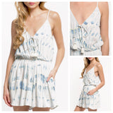 Blue & Ivory Tassel Tie Romper with Pockets