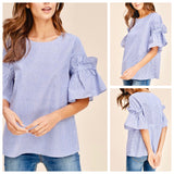Blue Pinstripe Bell Sleeve Top with Ruffle Detail