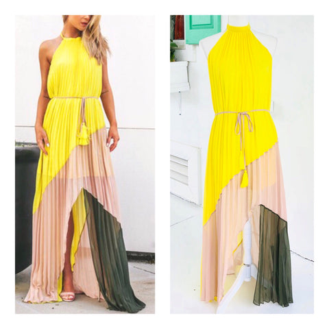 Lemon Yellow Olive & Nude Pleated Halter Maxi Dress with Open Back & Tassel Tie Waist