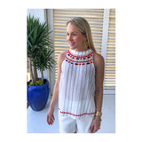 White Rainbow EMBROIDERED Stripe Halter Top