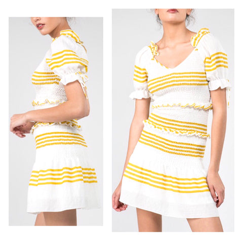 Cabana Yellow Stripe Smocked Waist Puff Tie Sleeve Ruffle Dress