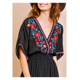 Black OR White EMBROIDERED Kaftan Dresses with Smocked Waist