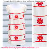 Ivory & Red Floral Embroidered Flutter Sleeve Dress