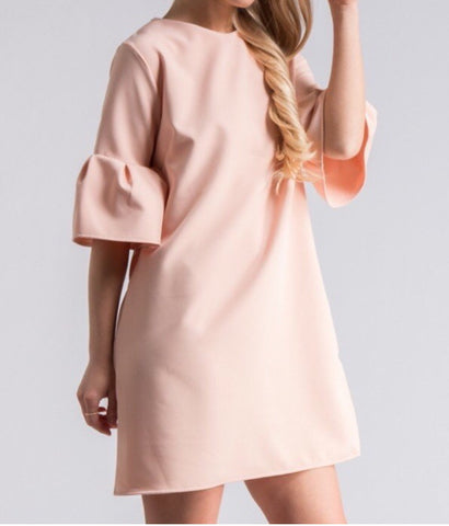 Bell Sleeve Shift Dress, Baby Pink