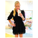 Black Designer Inspired Ruffle Trim Button Front Dress with Tiered Ruffle Hem