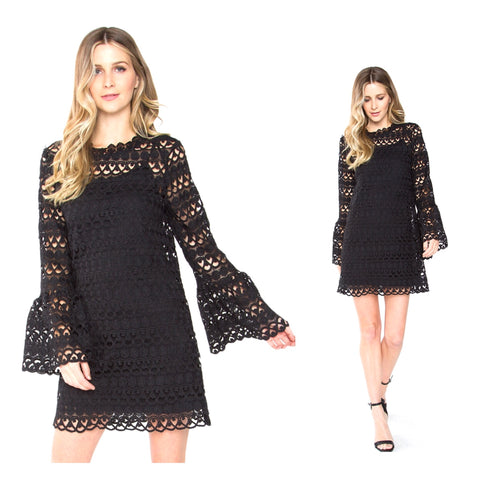 Black Crochet Lace Bell Sleeve Scalloped Hem Dress with Keyhole Back