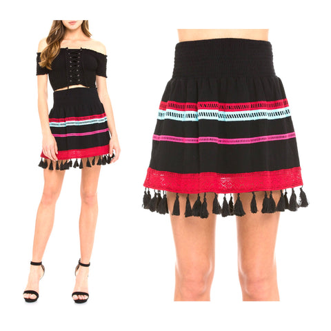 Black Smocked Waist Embroidered Skirt with Tassel Hem