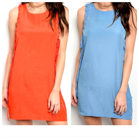 Baby Blue OR Orange Sleeveless Shift Dress with LACE UP SIDES