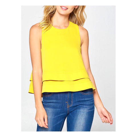 Lemon Yellow Double Layer Circle Hem Swing Top with Open Slit & Button Back