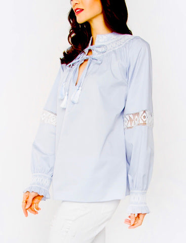 Baby Blue Tassel Tie Tunic with Smocked Collar and Lace Detail