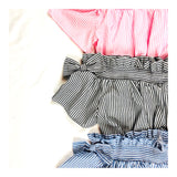 Pink Blue OR Black Pinstripe Top with Elastic ruffle Hem Waist & Shoulder Bows