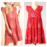 Red & Lavender Floral Print Flutter Sleeve Dress with Tiered Ruffle Hem