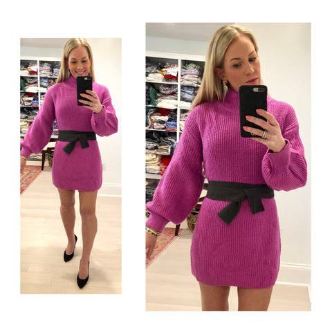 Hot Pink Mock Neck Round Knit Sweater Dress with Grey Knit Self Tie Belt