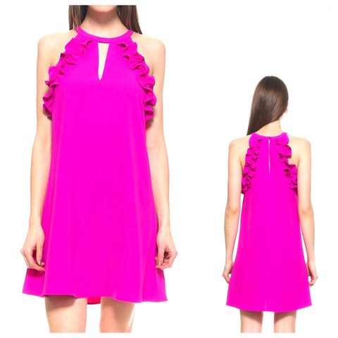 Magenta Sleeveless Dress with Ruffle Detail & Keyhole Front