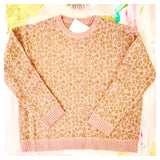 Baby Pink & Camel Cozy Mohair Sweater with Banded Pink Ribbed Hem Contrast