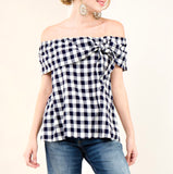 Navy Gingham Off the Shoulder Top with Knot Tie Detail