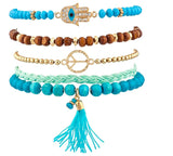 Beaded Pave Hamsa Evil Eye Bracelet Set