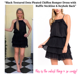 Black Textured Dots Pleated Chiffon Romper Dress with Ruffle Neckline & Keyhole Back