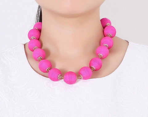 Hot Pink Adjustable Length Ball Necklace