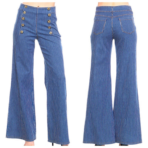 Blue White Pinstripe Denim Sailor Pants with Rear Pockets