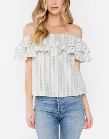 Cream and Black Off the Shoulder Top