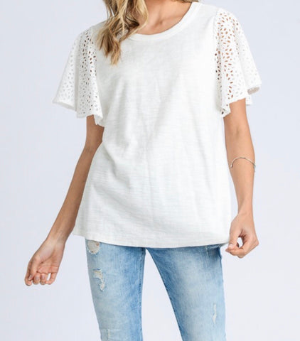 Ivory Eyelet Lace Sleeve Top