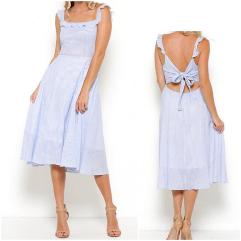 Baby Blue Stripe A-Line Flutter Sleeve Midi Dress with Open Bow Back