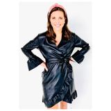 Black Long Bell Sleeve Ruffle Hem Leather Dress with Belt Sash, Made In ITALY