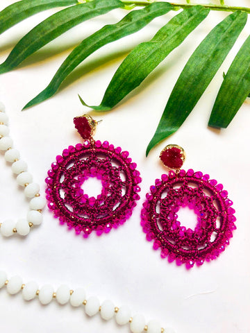 Fuschia Stone Beaded Crochet Circle Earrings