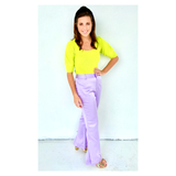 Lilac High Waisted Textured Satin Flare Pants with Pockets