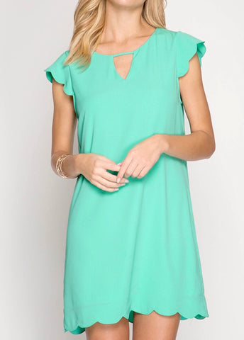 Jade Green Scalloped Shift Dress with Keyhole Back