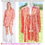Pink Orange & White Floral Print Long Puff Sleeve Tunic Dress or Tunic Top with Optional Tassel Tie