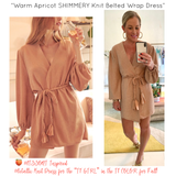 Warm Apricot SHIMMERY Knit Belted Wrap Dress