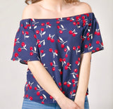 Cherry Print Off the Shoulder Top - FINAL SALE -