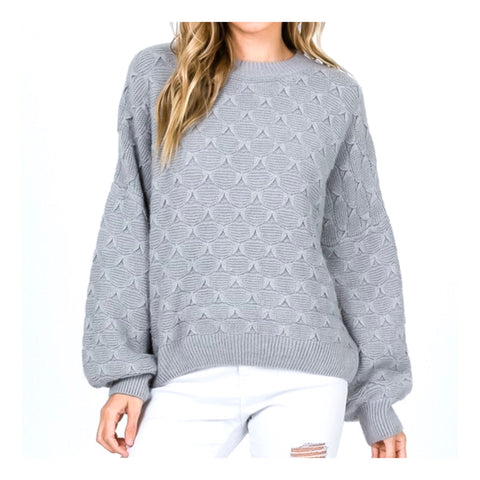 Grey Fish Scale Pattern Balloon Sleeve Sweater