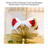White & Red Polkadot Contrast Beaded Watermelon Top Knot Headband