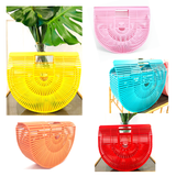 Pink, Cherry Red, Yellow, Black, Coral Orange & Turquoise Green Handcrafted Bamboo Bags