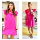 Hot Pink & Tangerine Flutter Sleeve Embroidered Textile Shift Dress with Ruffle Bust & Keyhole Back